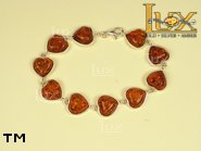 Jewellery SILVER sterling bracelet.  Stone: amber. TAG: hearts; name: B-502-3; weight: 12.6g.