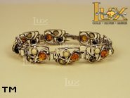 Jewellery SILVER sterling bracelet.  Stone: amber. TAG: clasic; name: B-647; weight: 21.3g.