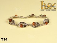 Jewellery SILVER sterling bracelet.  Stone: amber. TAG: nature; name: B-650; weight: 10.1g.