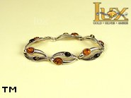 Jewellery SILVER sterling bracelet.  Stone: amber. TAG: nature; name: B-651; weight: 10.5g.