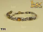 Jewellery SILVER sterling bracelet.  Stone: amber. TAG: ; name: B-652; weight: 13g.