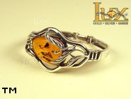 Jewellery SILVER sterling bracelet.  Stone: amber. TAG: nature; name: B-660; weight: 24.6g.