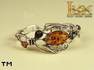 Jewellery SILVER sterling bracelet.  Stone: amber. TAG: ; name: B-669; weight: 18g.