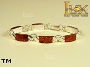 Jewellery SILVER sterling bracelet.  Stone: amber. TAG: ; name: B-672; weight: 17.7g.