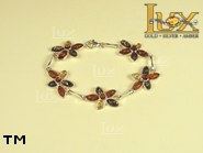 Jewellery SILVER sterling bracelet.  Stone: amber. TAG: nature; name: B-682; weight: 13.9g.
