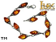 Jewellery SILVER sterling bracelet.  Stone: amber. TAG: ; name: B-726; weight: 10.4g.