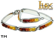 Jewellery SILVER sterling bracelet.  Stone: amber. TAG: modern; name: B-735; weight: 10.4g.