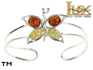 Jewellery SILVER sterling bracelet.  Stone: amber. Butterfly. TAG: animals; name: B-744; weight: 12.5g.