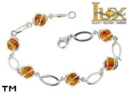 Jewellery SILVER sterling bracelet.  Stone: amber. TAG: ; name: B-778; weight: 6.8g.