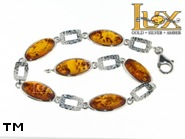 Jewellery SILVER sterling bracelet.  Stone: amber. TAG: ; name: B-790; weight: 9.4g.