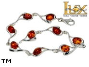 Jewellery SILVER sterling bracelet.  Stone: amber. TAG: hearts; name: B-795; weight: 9.1g.