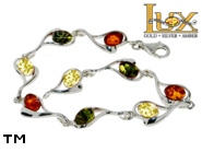Jewellery SILVER sterling bracelet.  Stone: amber. TAG: hearts; name: B-795mix; weight: 9.1g.