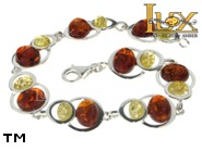 Jewellery SILVER sterling bracelet.  Stone: amber. TAG: ; name: B-825; weight: 11.2g.