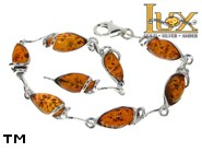 Jewellery SILVER sterling bracelet.  Stone: amber. TAG: hearts, modern; name: B-884; weight: 7.25g.