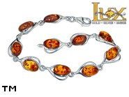 Jewellery SILVER sterling bracelet.  Stone: amber. TAG: hearts; name: B-985; weight: 8.1g.