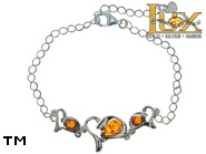 Jewellery SILVER sterling bracelet.  Stone: amber. TAG: hearts, modern; name: B-B31-3; weight: 4.6g.