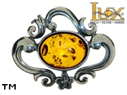 Jewellery SILVER sterling brooche.  Stone: amber. TAG: clasic; name: BR-094; weight: 6g.