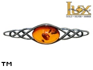 Jewellery SILVER sterling brooche.  Stone: amber. TAG: ; name: BR-258; weight: 2.7g.