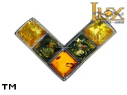 Jewellery SILVER sterling brooche.  Stone: amber. TAG: clasic; name: BR-520; weight: 2.4g.