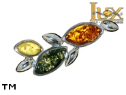 Jewellery SILVER sterling brooche.  Stone: amber. TAG: nature; name: BR-529; weight: 3.1g.