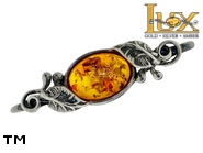 Jewellery SILVER sterling brooche.  Stone: amber. TAG: ; name: BR-630; weight: 4.5g.