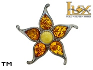 Jewellery SILVER sterling brooche.  Stone: amber. TAG: nature; name: BR-655; weight: 5.1g.