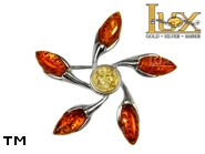 Jewellery SILVER sterling brooche.  Stone: amber. TAG: ; name: BR-726; weight: 8.3g.