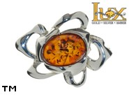Jewellery SILVER sterling brooche.  Stone: amber. TAG: nature; name: BR-876; weight: 4.7g.