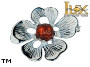Jewellery SILVER sterling brooche.  Stone: amber. TAG: nature; name: BR-955; weight: 2.5g.