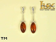 Jewellery SILVER sterling earrings.  Stone: amber. TAG: ; name: E-204; weight: 3g.