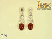 Jewellery SILVER sterling earrings.  Stone: amber. TAG: ; name: E-258; weight: 3.3g.