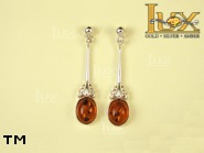 Jewellery SILVER sterling earrings.  Stone: amber. TAG: ; name: E-603; weight: 3.5g.