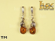 Jewellery SILVER sterling earrings.  Stone: amber. TAG: ; name: E-630; weight: 3.6g.