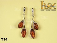 Jewellery SILVER sterling earrings.  Stone: amber. TAG: ; name: E-726; weight: 5.2g.