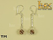 Jewellery SILVER sterling earrings.  Stone: amber. TAG: ; name: E-763W; weight: 2g.
