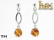 Jewellery SILVER sterling earrings.  Stone: amber. TAG: ; name: E-778; weight: 2.6g.