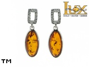 Jewellery SILVER sterling earrings.  Stone: amber. TAG: ; name: E-790; weight: 3.3g.