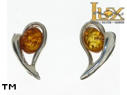 Jewellery SILVER sterling earrings.  Stone: amber. TAG: hearts; name: E-795S; weight: 2.6g.