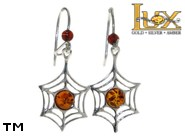 Jewellery SILVER sterling earrings.  Stone: amber. TAG: nature, animals; name: E-865-1; weight: 2.2g.