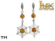 Jewellery SILVER sterling earrings.  Stone: amber. TAG: nature, animals; name: E-865-2; weight: 3.4g.
