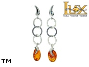 Jewellery SILVER sterling earrings.  Stone: amber. Fang, tooth, bone. TAG: nature, modern; name: E-905; weight: 3.7g.