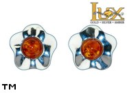 Jewellery SILVER sterling earrings.  Stone: amber. TAG: nature; name: E-983; weight: 1.7g.