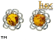 Jewellery SILVER sterling earrings.  Stone: amber. TAG: nature; name: E-987S; weight: 1.6g.