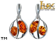 Jewellery SILVER sterling earrings.  Stone: amber. TAG: ; name: E-A16; weight: 2.9g.