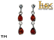 Jewellery SILVER sterling earrings.  Stone: amber. TAG: ; name: E-A57-2; weight: 2.2g.
