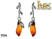 Jewellery SILVER sterling earrings.  Stone: amber. TAG: nature, modern; name: E-A77; weight: 3.5g.