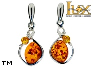 Jewellery SILVER sterling earrings.  Stone: amber. TAG: ; name: E-A80; weight: 3.4g.
