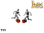 Jewellery SILVER sterling earrings.  Stone: amber. Footballers. TAG: modern, signs; name: E-A84; weight: 1g.