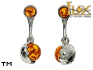 Jewellery SILVER sterling earrings.  Stone: amber. A football. TAG: modern, signs; name: E-A85-1; weight: 3.5g.