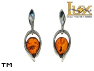 Jewellery SILVER sterling earrings.  Stone: amber. TAG: modern; name: E-B68; weight: 2.3g.